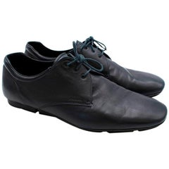 Prada Navy Leather Lace Soft Lace-up Shoes - Size 44