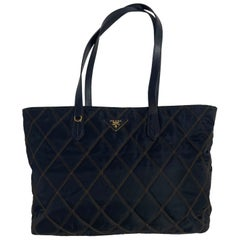 Prada Navy Nylon Quilted Tote Bag w/ Contrast Stitching rt. $1,170