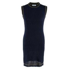 Prada Navy Ribbed Knit Stretch Sleeveless Dress IT 40