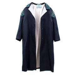 Prada Navy Swarovski Crystal Embellished Coat