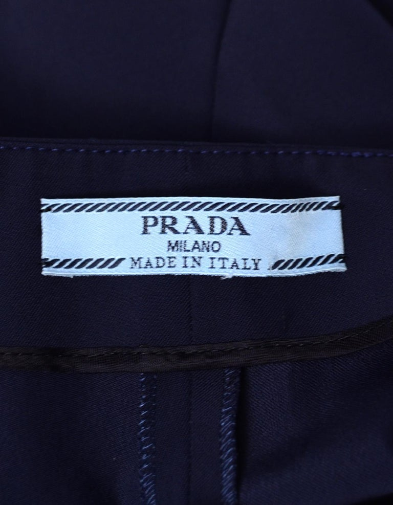 Prada Navy Techno Stretch Ankle Pants Sz IT48/US12 In Excellent Condition In New York, NY