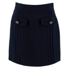 Prada Navy Virgin Wool Mini Skirt - Size US 2