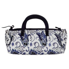 Prada Navy/White Brocade Handbag w/ Lurex