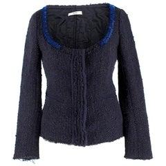 Prada Navy Wool-blend Beaded Lightweight Jacket - Size US 2