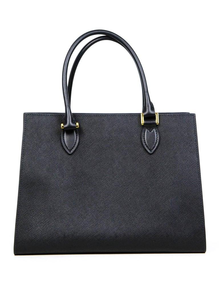 Women's Prada Nero Black Saffiano Leather Lux Convertible Tote Bag w/ Strap 1BA118 For Sale