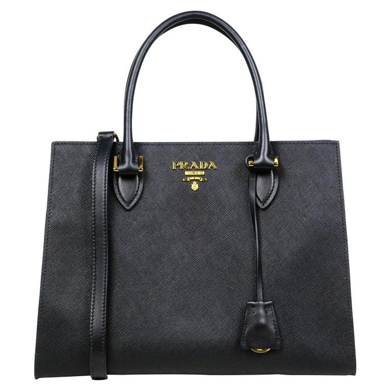 Prada Nero Black Saffiano Leather Lux Convertible Tote Bag w/ Strap 1BA118 For Sale
