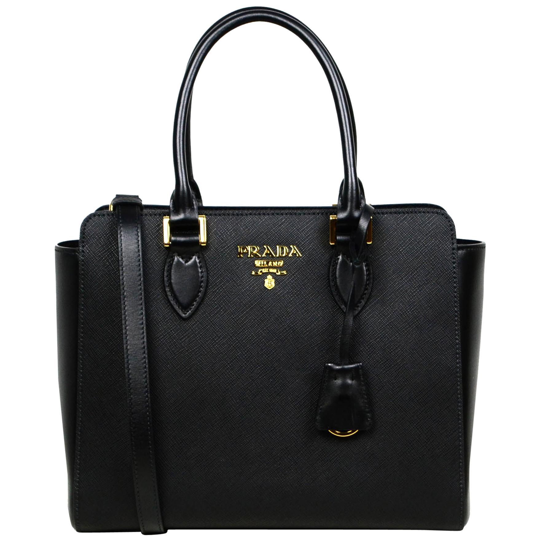 Prada Nero Black Saffiano Small Top Handle Tote Crossbody Bag 1BA113