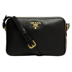Prada Nero Black Vitello Phenix Double Zip Camera Crossbody Bag