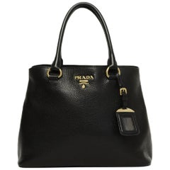 Prada Nero Black Vitello Phenix Leather Tote Bag