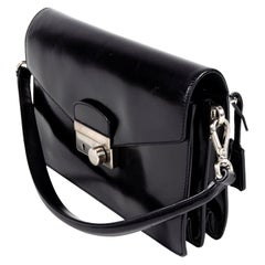 Prada Nero Mosto Vitello Sound Flap Leather Top Handle / Shoulder Bag