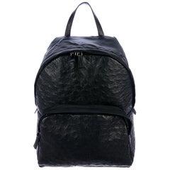 Prada NEW Black Ostrich Exotic Leather Top Handle Travel Weekender Backpack Bag