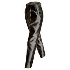 "PRADA ""New"" Gray Silk Shantung Pants - Unworn"