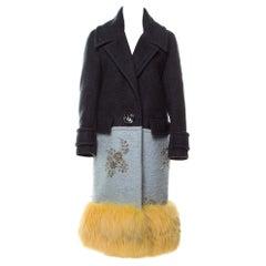 Prada NEW Runway Cashmere Wool Mohair Fox Fur Evening Winter Over Long Coat
