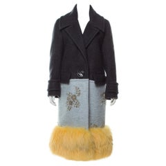 Prada NEW Runway Cashmere Wool Mohair Fox Fur Evening Winter Over Long Coat