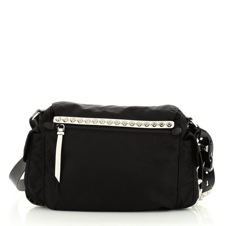 Prada New Vela Flap Messenger Bag Tessuto with Studded Leather Medium In Good Condition For Sale In New York, NY