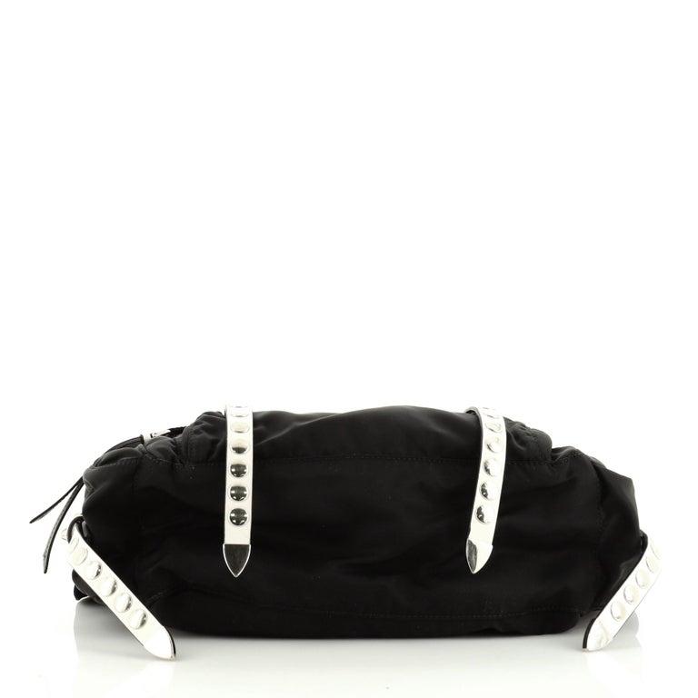 Women's or Men's Prada New Vela Flap Messenger Bag Tessuto with Studded Leather Medium For Sale