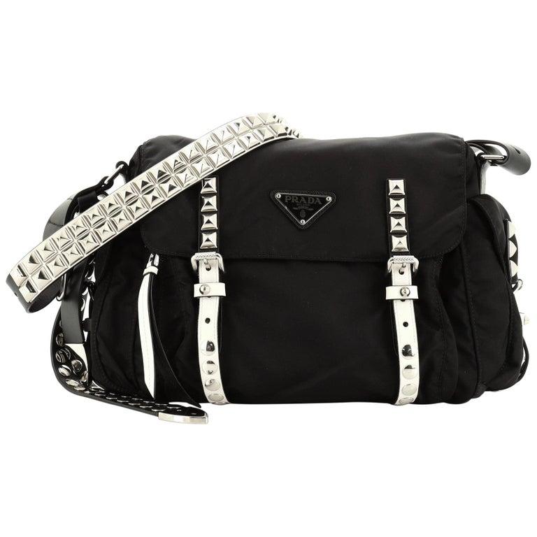 Prada New Vela Flap Messenger Bag Tessuto with Studded Leather Medium For Sale