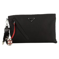 Prada New Vela Zip Pouch Tessuto with Studded Detail Large