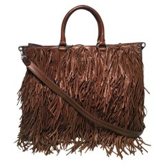 PRADA Noce Nappa Brown Leather Fringe Tote Bag