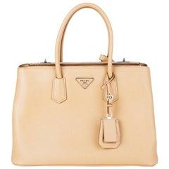 PRADA Noisette beige Saffiano leather TWIN Tote Bag