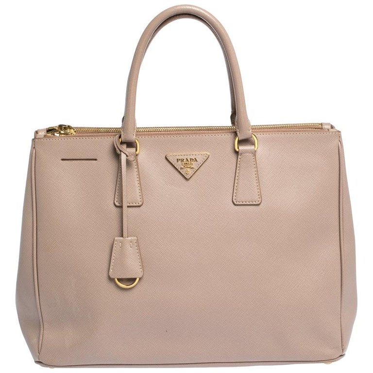 Prada Nude Beige Saffiano Lux Leather Large Double Zip Tote For Sale