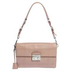 Prada Nude Beige Safiano Lux Leather Sound Shoulder Bag