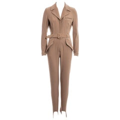 Prada nude nylon belted jumpsuit with stirrups, c. 1992