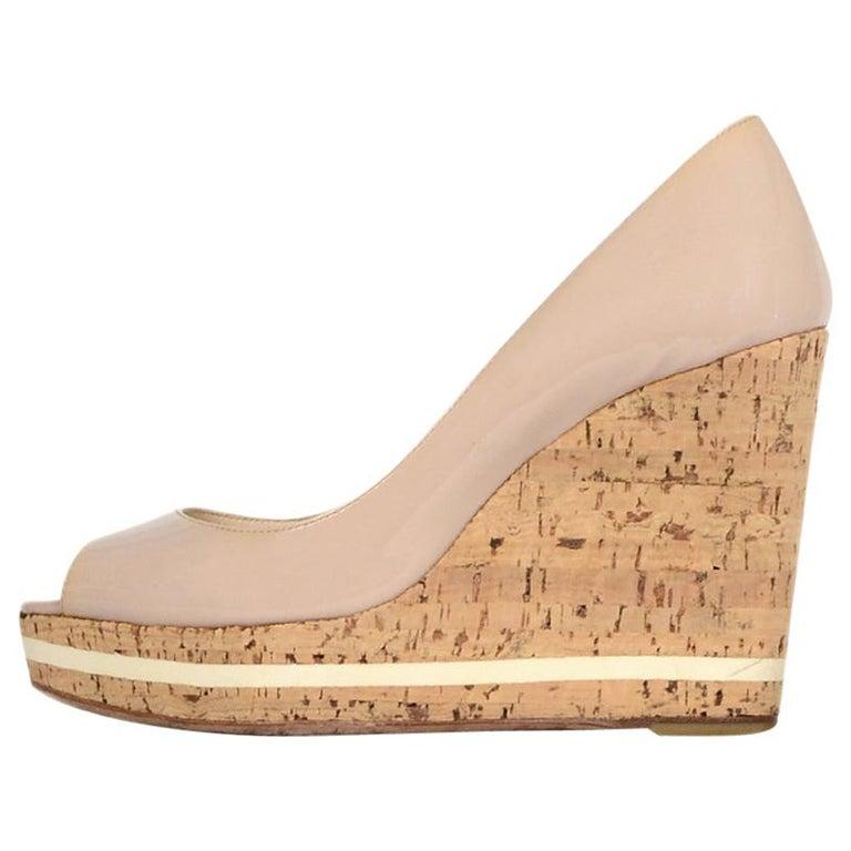 941c9fca61c Prada Nude Patent Peep Toe Cork Wedge Shoes sz 37.5