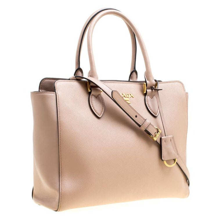 1c3bb11f8dd0b9 Beige Prada Nude Saffiano and Soft Leather Top Handle Bag For Sale