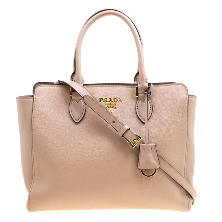 55abc39f76f2 Prada Nude Saffiano and Soft Leather Top Handle Bag at 1stdibs