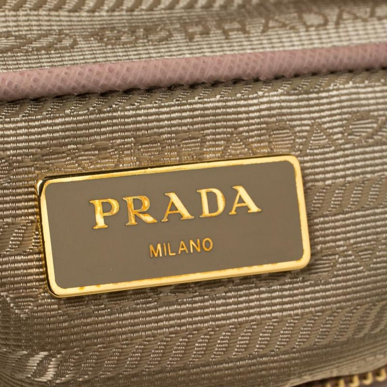 Prada Nude Saffiano Lux Leather Large Double Zip Tote For Sale 5
