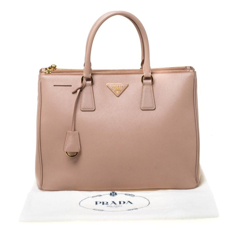 Prada Nude Saffiano Lux Leather Large Double Zip Tote For Sale 8