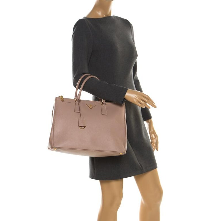 Beige Prada Nude Saffiano Lux Leather Large Double Zip Tote For Sale