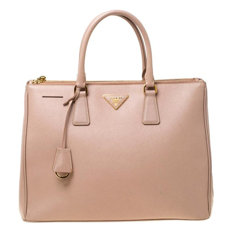 Prada Nude Saffiano Lux Leather Large Double Zip Tote For Sale