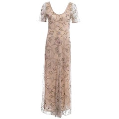 Prada nude silk mesh floral embroidered maxi dress, ss 1997