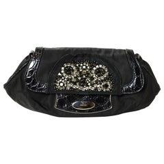 Prada Nylon Clutch Bag w/ Crystal Encrusted & Crocodile Detail