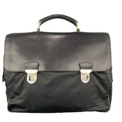 PRADA Nylon & Leather Double Snap Briefcase
