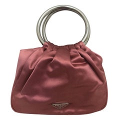 PRADA O Ring Satin Pouch w/Dust Bag Unused