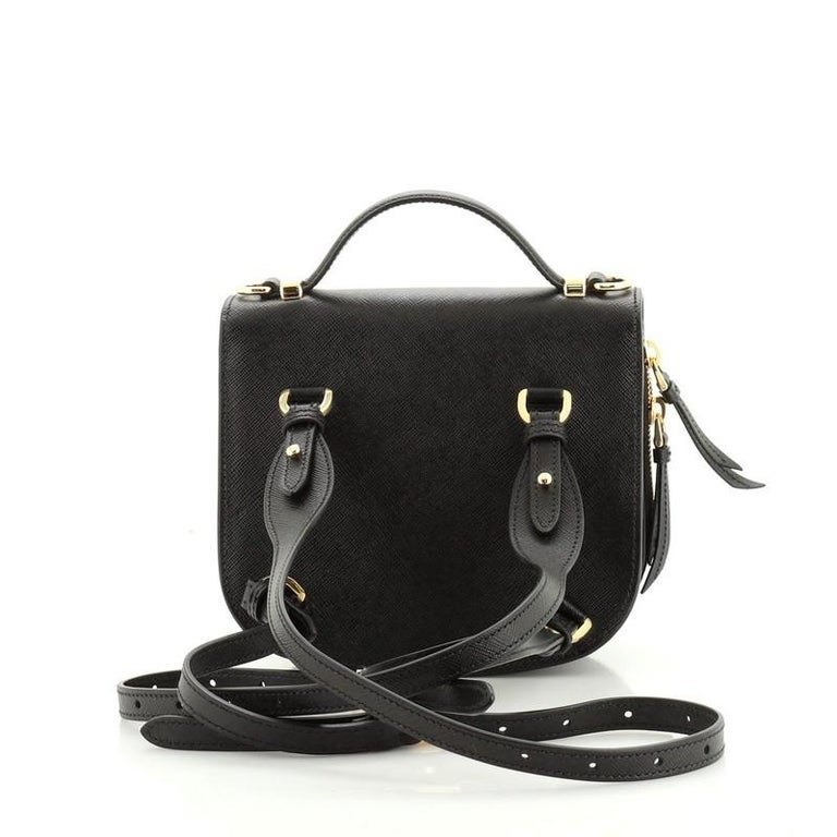 Prada Odette Flap Backpack Saffiano Leather Mini In Good Condition In New York, NY