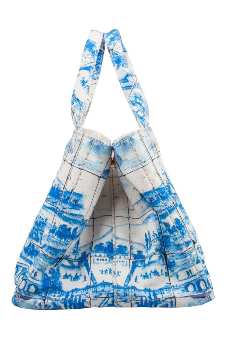 Women's Prada Off White/Blue Printed Canvas Large Canapa Tote For Sale