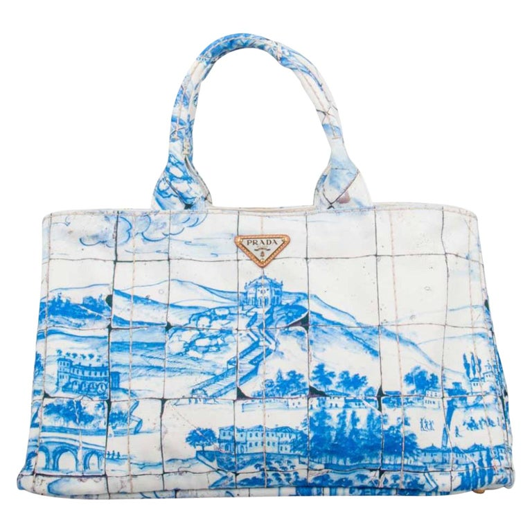 Prada Off White/Blue Printed Canvas Large Canapa Tote For Sale