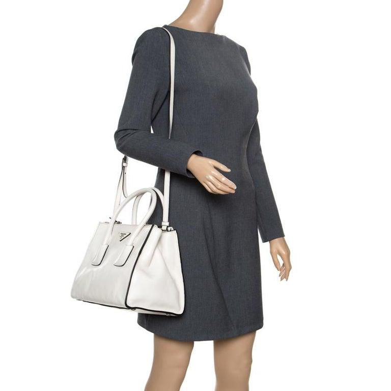 ae9038d879765e Prada Off White Leather Double Zip Tote In New Condition For Sale In Dubai,  AE
