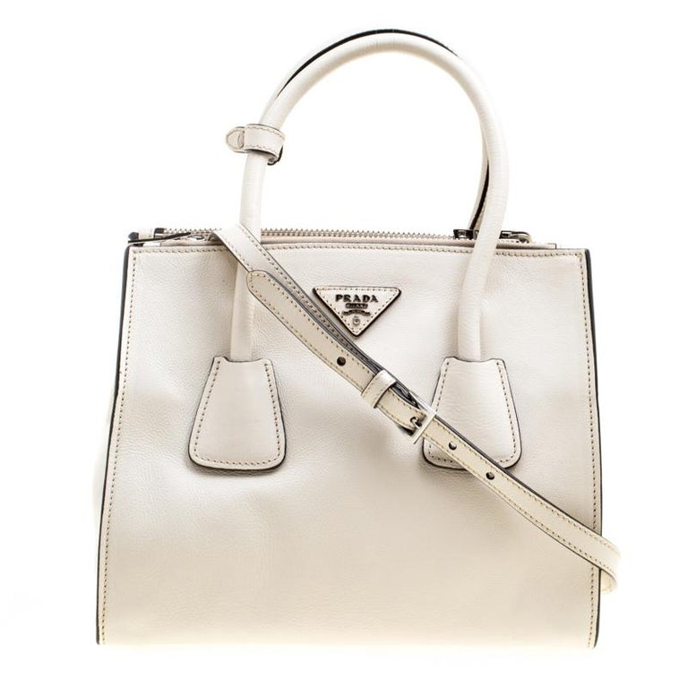 1a2440b1211011 Prada Off White Leather Double Zip Tote For Sale at 1stdibs