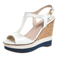 Prada Off White Patent Leather T-Strap Cork Wedge Platform Sandals Size 37.5