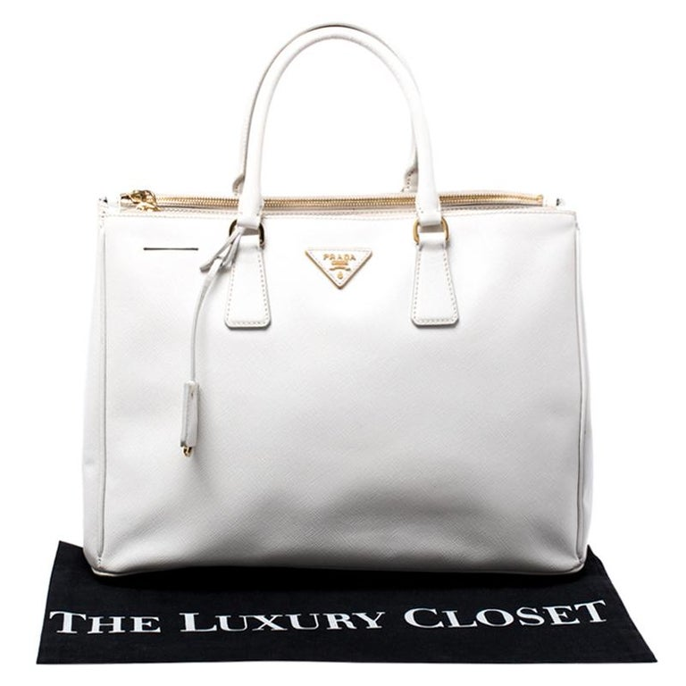Prada Off White Saffiano Lux Leather Large Double Zip Tote For Sale 8