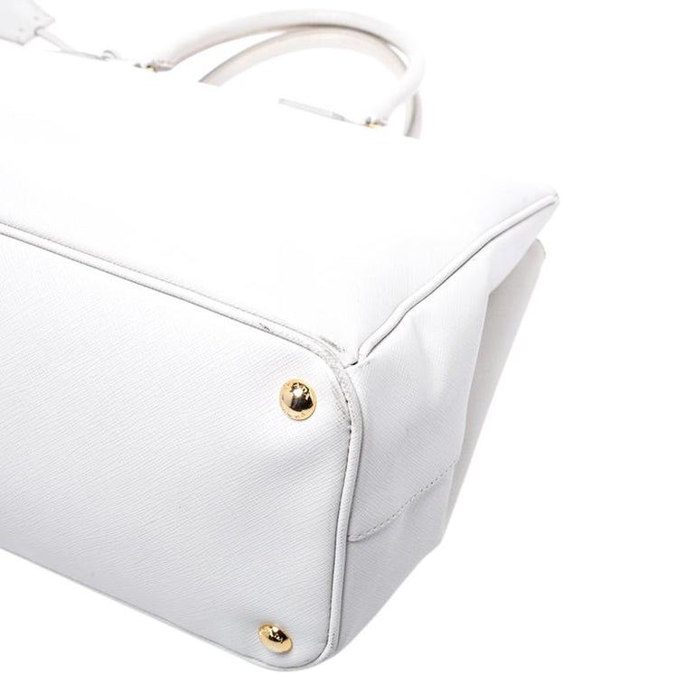 Women's Prada Off White Saffiano Lux Leather Large Double Zip Tote For Sale