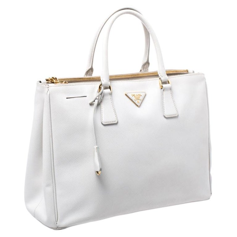 Prada Off White Saffiano Lux Leather Large Double Zip Tote For Sale 1