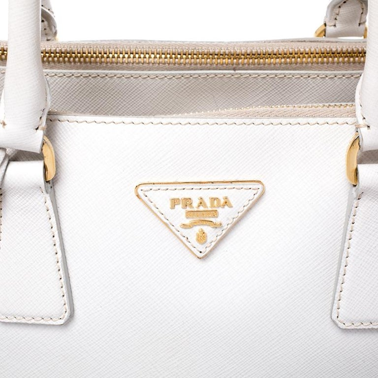 Prada Off White Saffiano Lux Leather Large Double Zip Tote For Sale 2