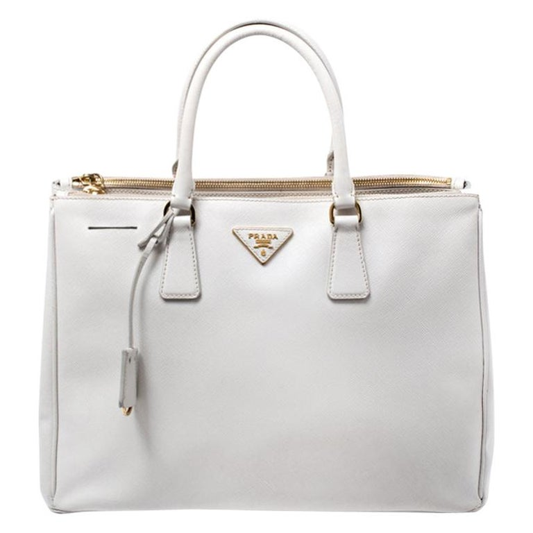 Prada Off White Saffiano Lux Leather Large Double Zip Tote For Sale