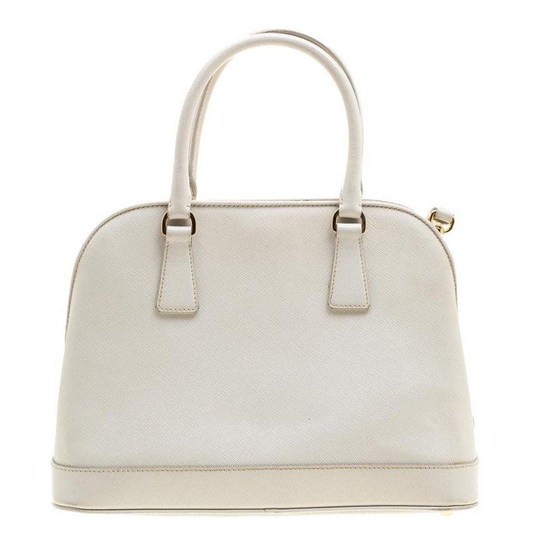 d5eddf9c11db Prada Off White Saffiano Lux Leather Promenade Tote For Sale at 1stdibs